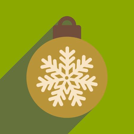 christmas tree illustration: flat icon with long shadow Christmas ball