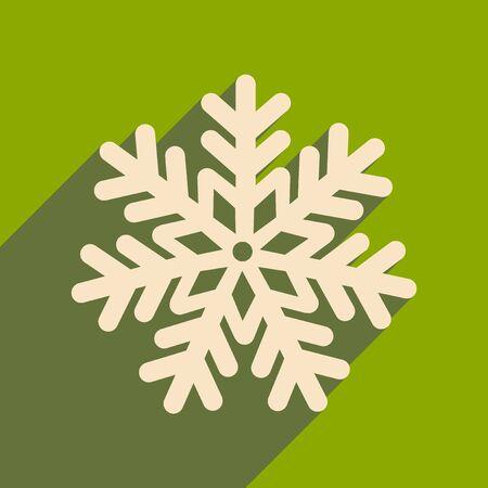 ice: flat icon with long shadow Christmas snowflake