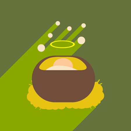 flat icon with long shadow Jesus in manger Illustration