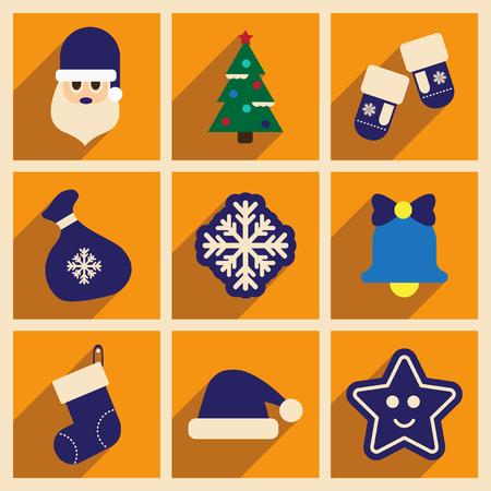 christmas tree illustration: Set of flat icons with long shadow Christmas
