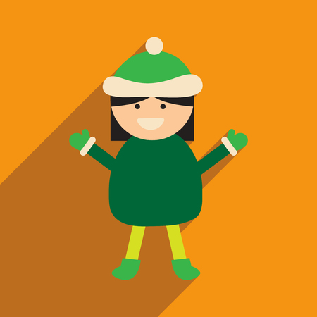 flat icon with long shadow Girl in winter clothes Illustration