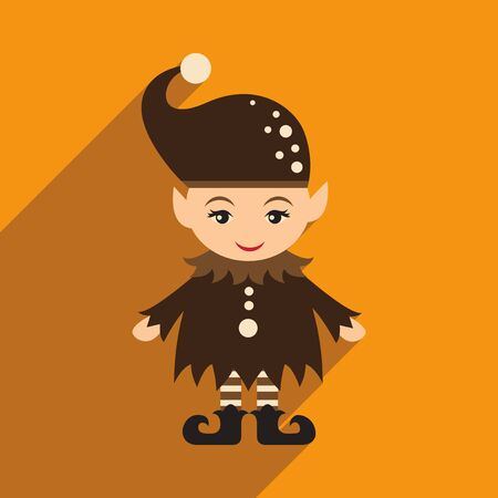 elves: flat icon with long shadow christmas gnome Illustration