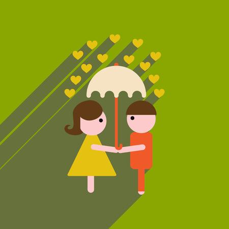 Flat web icon with long shadow man woman umbrella