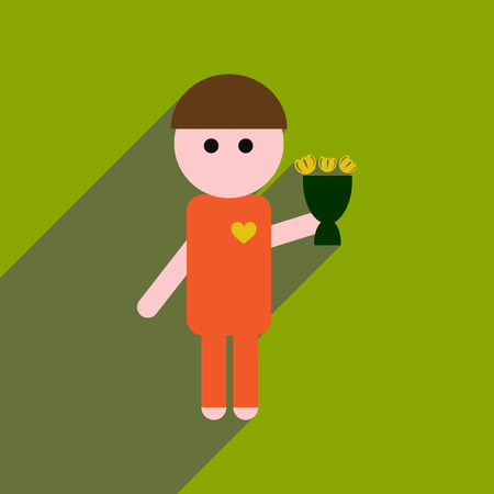 Flat web icon with long shadow man bouquet