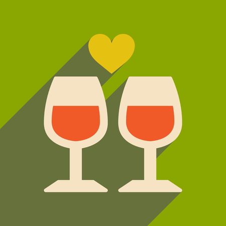 Flat web icon with long shadow wine glasses Vectores