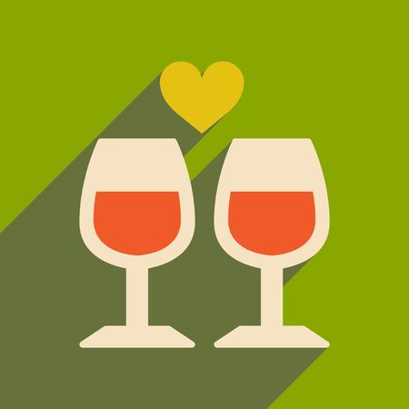icono de banda plana con copas de vino larga sombra Vectores