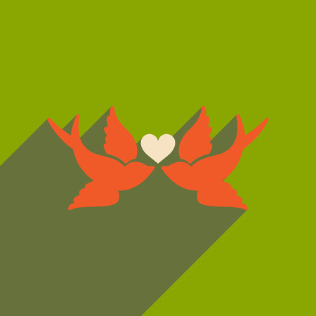 lovebird: Flat web icon with long shadow birds heart Illustration