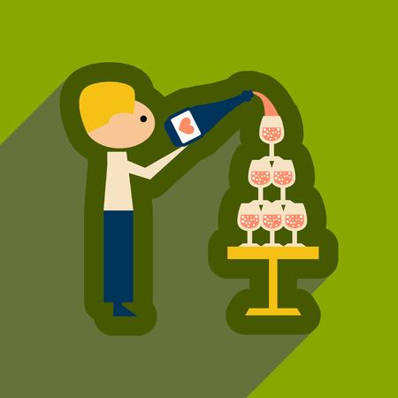 champagne celebration: Flat web icon with long shadow Pyramid wine waiter