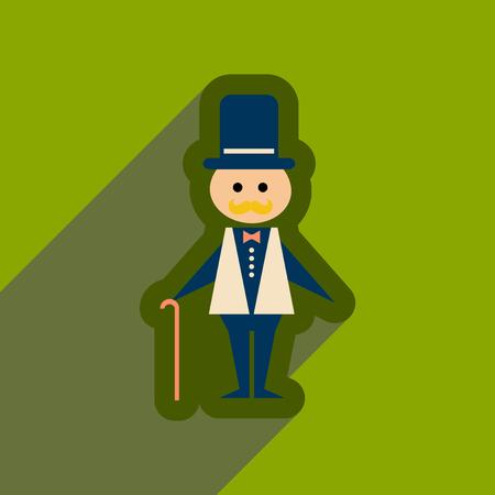 Flat web icon with long shadow stylish man