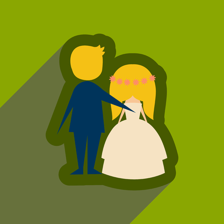 wedding couple: Flat web icon with long shadow bride and groom
