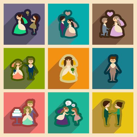 Set van platte web iconen met lange schaduw bruid en bruidegom