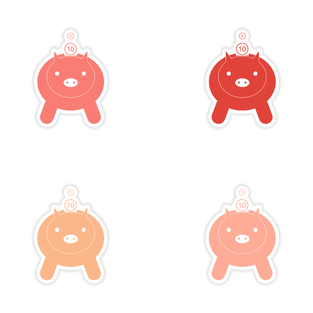Stylish assembly sticker on paper piggy bank and money