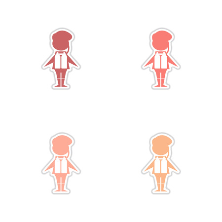 Concept of paper stickers on white background male diver