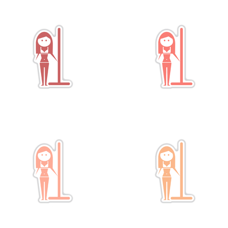 Concept paper stickers on white background girl striptease Illustration