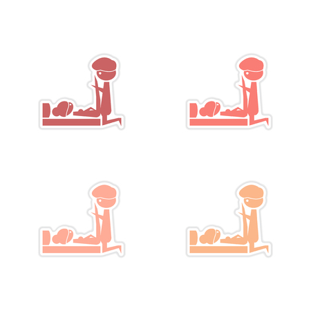 Concept paper stickers on white background Kamasutra positions