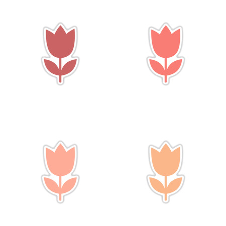 Concept of paper stickers on white background tulip blooms Illustration