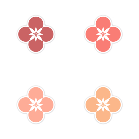 Concept of paper stickers on white background flower silhouette