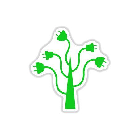 paper sticker on white background eco energy Illustration