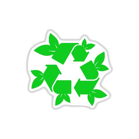 original ecological: paper sticker on white background arrow leaves