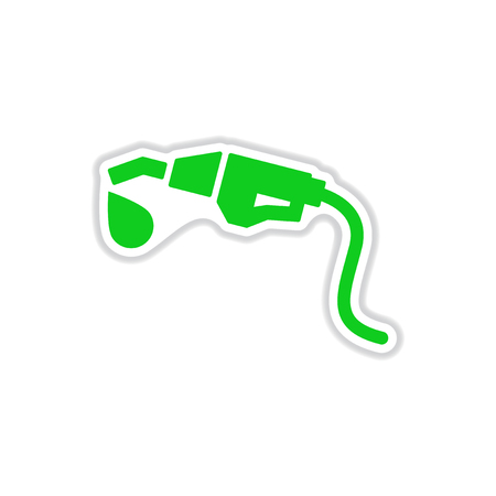 paper sticker on white background gasoline gun