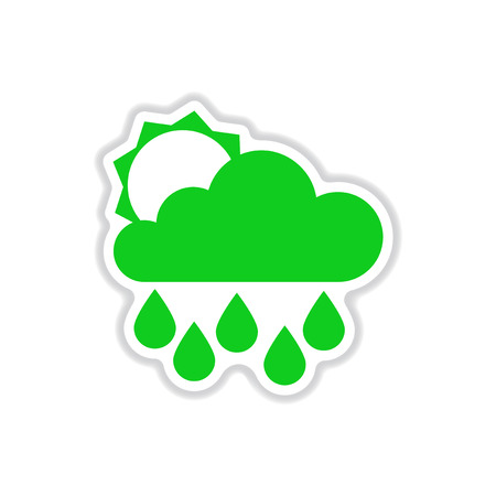 meteorologist: paper sticker on white background sun clouds rain