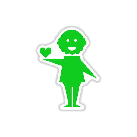 paper sticker on white background heart man