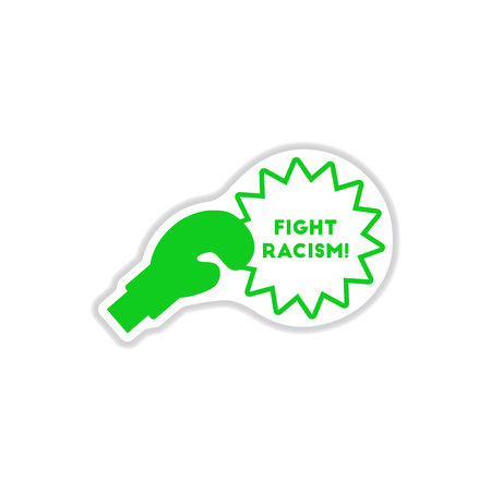 paper sticker on white background racism