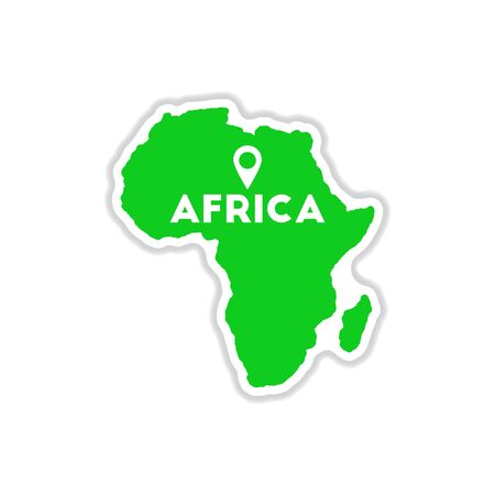 paper sticker on white background Africa map