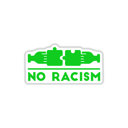 paper sticker on white background no racism Illustration