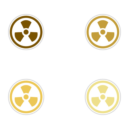 dirty: Set of paper stickers on white background toxic symbol