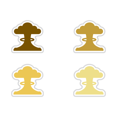 Set of paper stickers on white background  nuclear explosion