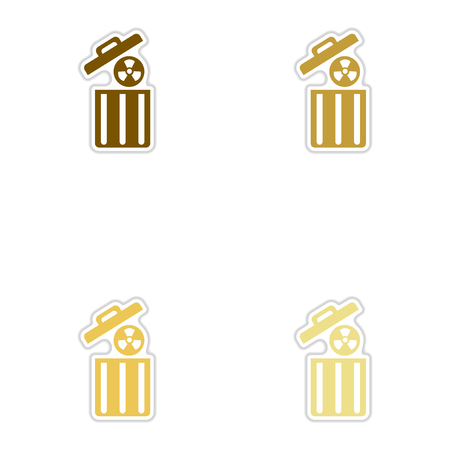 uranium: Set of paper stickers on white background  radioactive waste Illustration