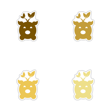 Set of paper stickers on white background eco pig