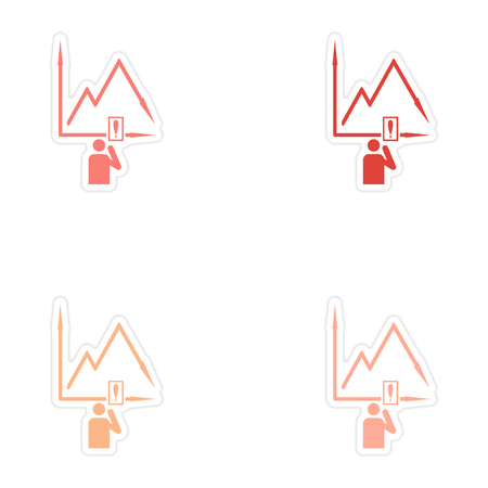 moving down: Set of stylish sticker on paper falling graph and people