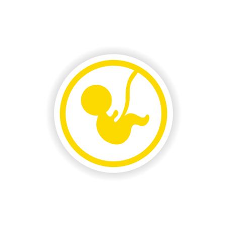 Papiersticker op witte achtergrond Kind in baarmoeder