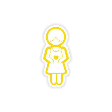 paper sticker on white background expectant mother Illustration