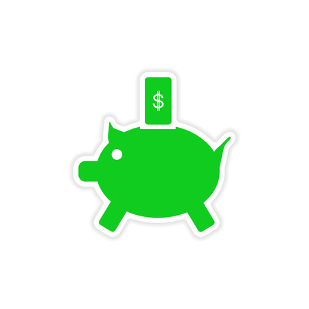 stylish sticker on paper piggy bank and money