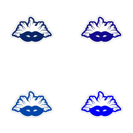 costume ball: Set of stickers Brazilian carnival mask on white background