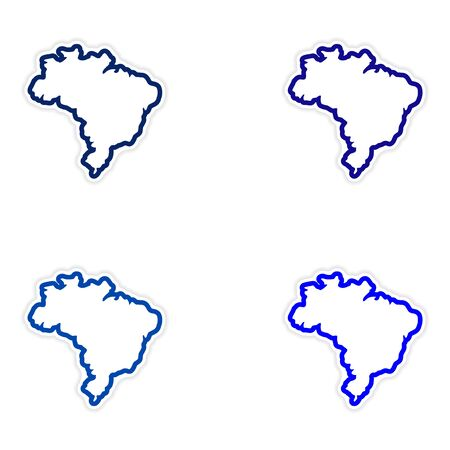 continente americano: Set of stickers Brazilian map on white background