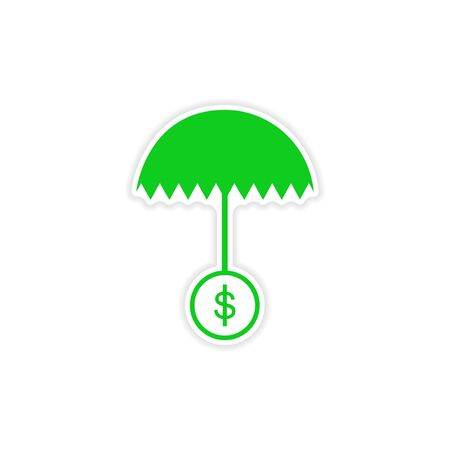 stylish sticker on paper umbrella and coins Illustration