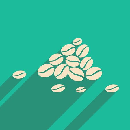 Flat with shadow icon and mobile application coffee beans Illustration