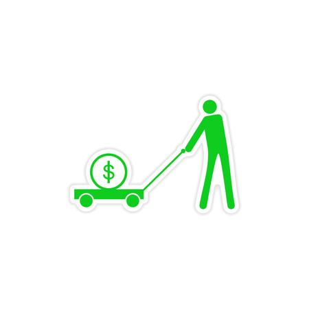 stijlvolle sticker op papier mensen geld in trolley