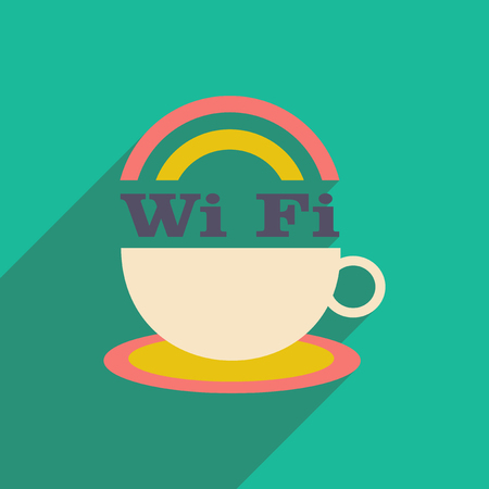 Flat with shadow icon and mobile application wi-Fi