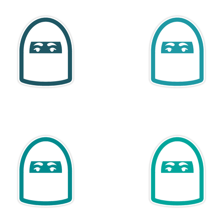 Set of paper stickers on white background woman in burqa Vettoriali