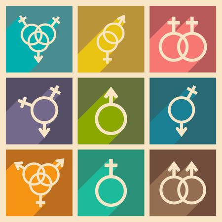 Set gender icons. Stock Illustratie