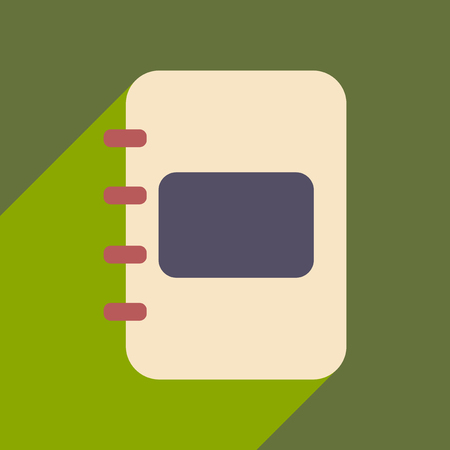 Flat with shadow icon and mobile application diary