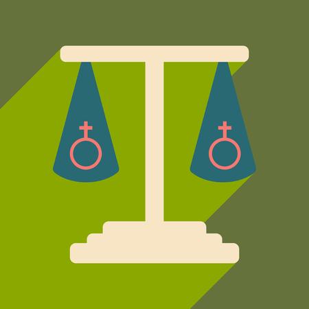 Flat met schaduw icoon en mobiele applicatie seksuele gelijkheid