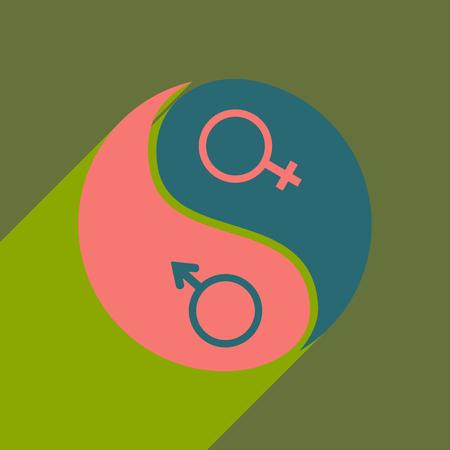 Vlak met schaduw icoon en mobiele applicatie gelijkheid van de geslachten Stockfoto - 85074882