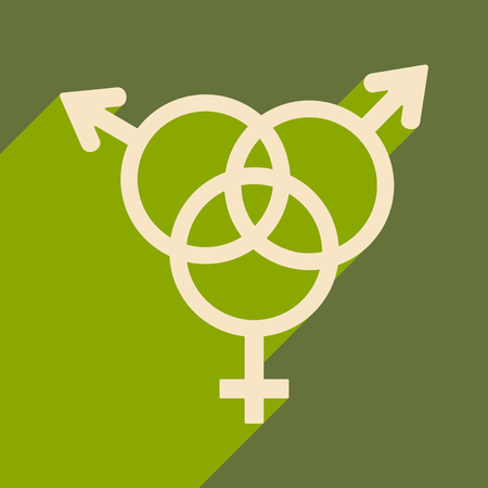 Flat with shadow icon and mobile application equality of the sexes Illustration