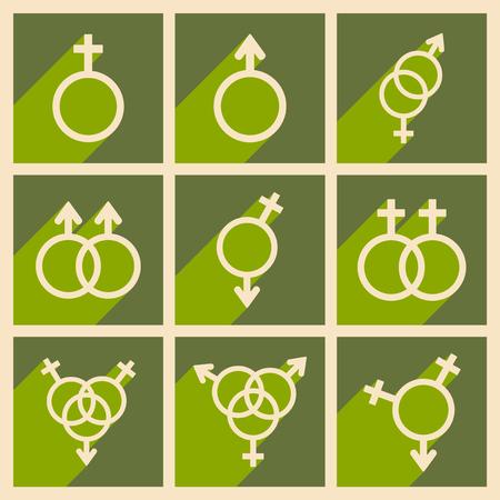Vlak met schaduwconcept en mobiele applicatie gelijkheid van de geslachten